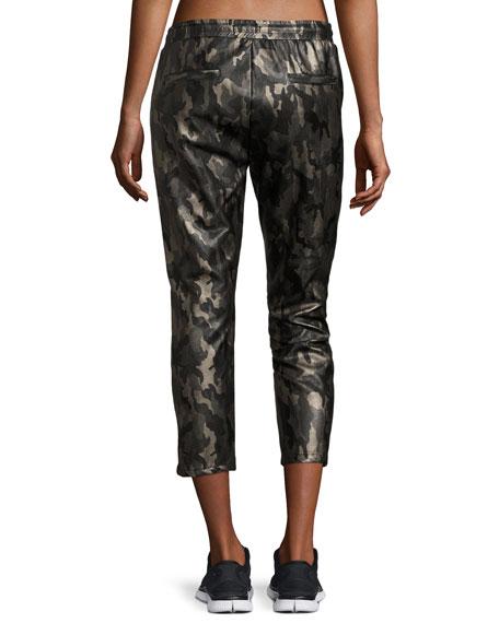 Caliber Tuxedo Camo-Print Vegan Leather Sweatpants
