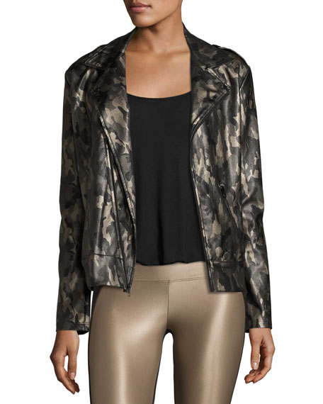 Koral Activewear Specter Camo-Print Vegan Leather Moto Jacket