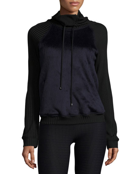 Koral Activewear Faux-Fur Funnel-Neck Athletic Pullover, Midnight