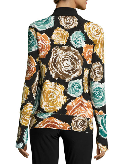 Floral-Print Turtleneck Zip-Front Jacket, Painter Roses