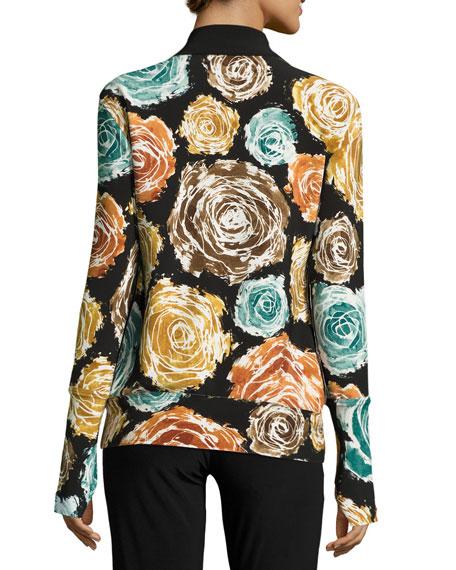 Floral-Print Turtleneck Zip-Front Jacket, Painter Roses
