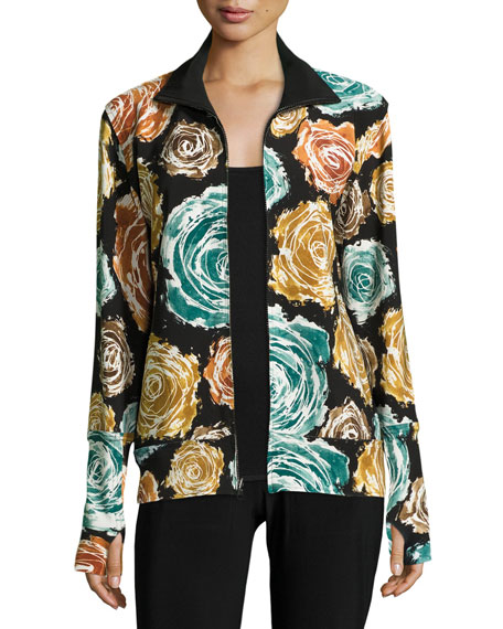 Norma Kamali Floral-Print Turtleneck Zip-Front Jacket, Painter
