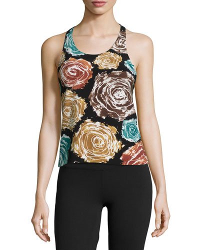 Racer Floral-Print Active Combo Top
