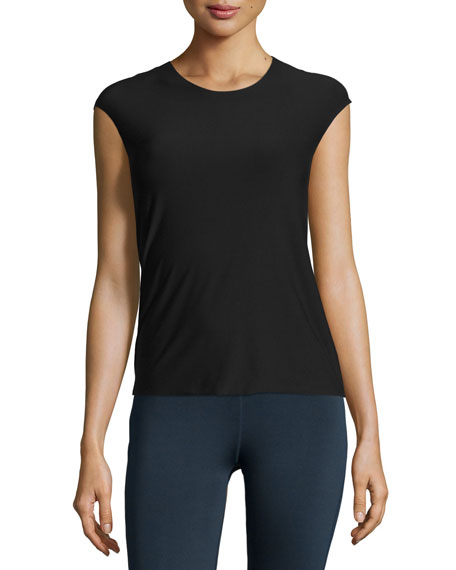 Butter Modern Cap-Sleeve Tee, Midnight