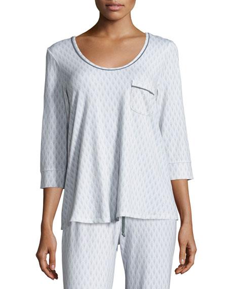 Fleur't 3/4-Sleeve Pajama Swing Top, Limestone Art Deco