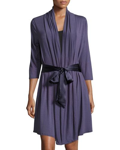 Take Me Away Inset-Back Robe, Blue Print