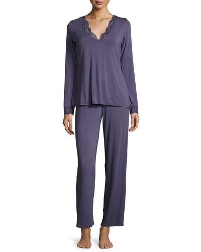 Long-Sleeve Lace-Trim Pajama Set, Blue Print