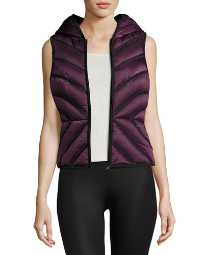 Satin Mesh-Inset Puffer Vest, Blackberry Reviews