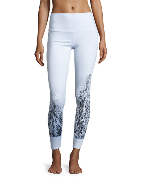 High-Waist Airbrush Leggings, Winter Landscape