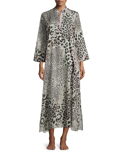 Animal-Print Caftan Lounger, Natural