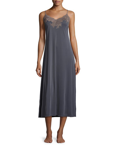 Enchant Satin Long Nightgown, Black/Sand