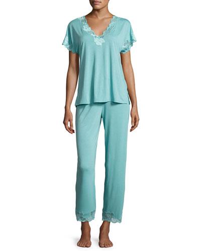 Zen Floral Lace-Trim Pajama Set, Blue Shell