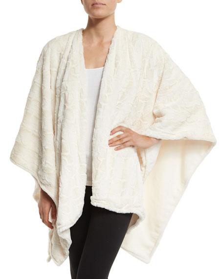 Natori Faux-Fur Reversible Shawl, White