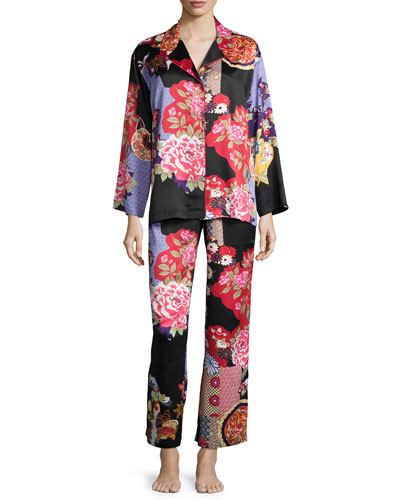 Mikado Printed Pajama Set, Black