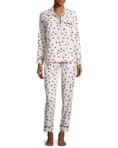 dot-print flannel pajama set, pink shadow