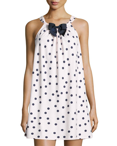 dot-print flannel chemise, pink shadow