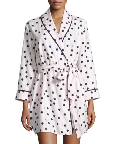 dot-print flannel short robe, pink shadow