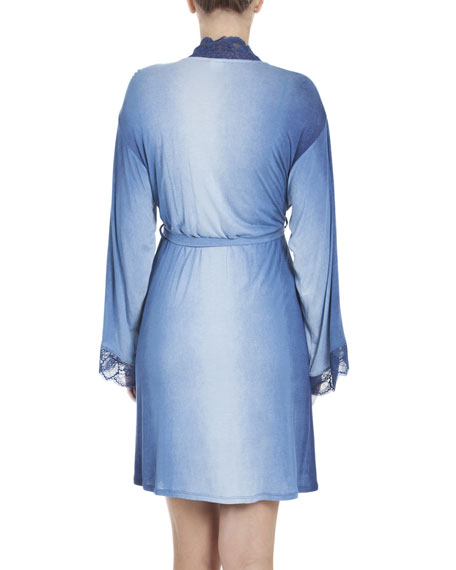 Stormy Skies Jersey Wrap Robe, Blue