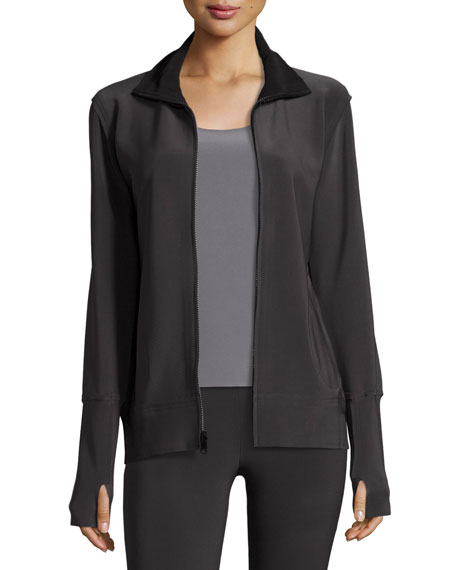 Bonded Jersey Zip-Front Turtle Jacket, Pewter