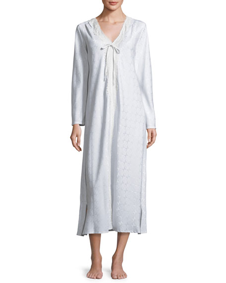 Brushed Back Satin Jacquard Nightgown, Ice Blue