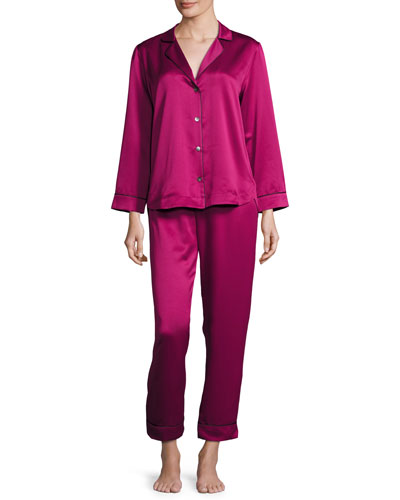 Matte Satin Two-Piece Pajama Set, Berry