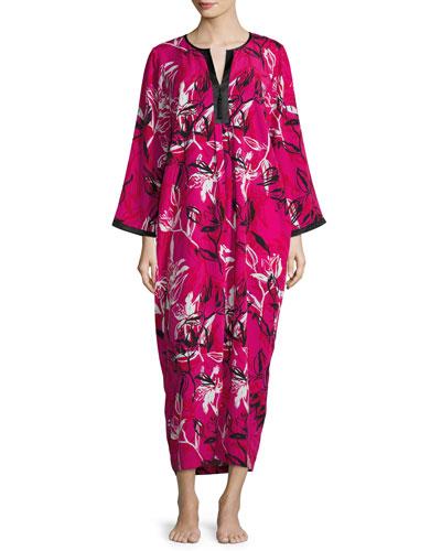 Floral-Print Crepe de Chine Lounge Caftan, Berry