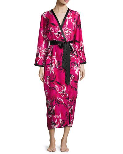 Floral-Print Wrap Robe, Berry Print