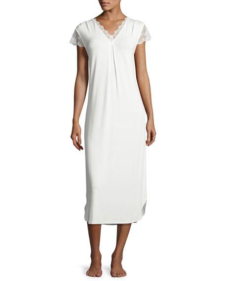 Oscar de la Renta Luxe Jersey Nightgown, Champagne