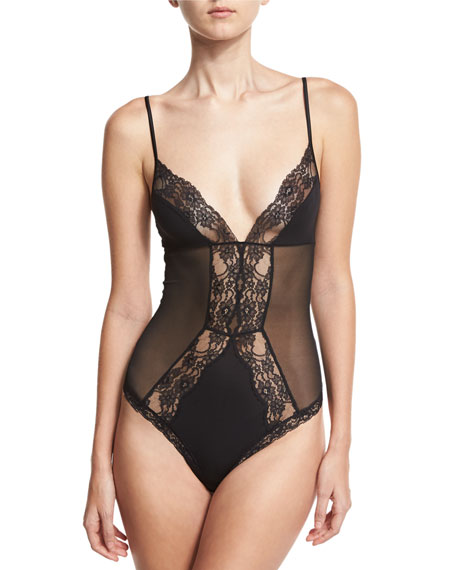 Airy Blooms Lace-Trim Bodysuit, Black