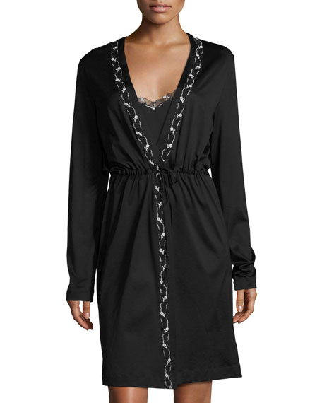La Perla Liaison Embroidered Short Robe, Black