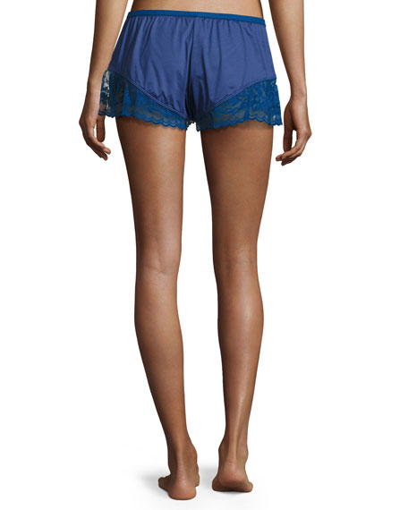 Cosmopolitan Lace-Trimmed Boxer Shorts, Marine Blue