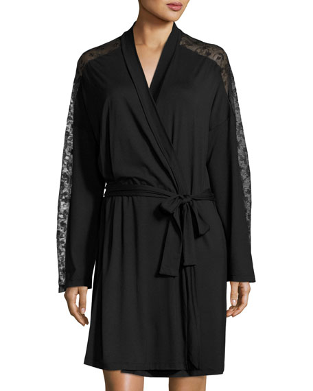 Cosabella Ritz Long-Sleeve Robe, Black