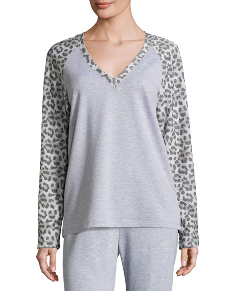 Cosabella Leopard-Print Long-Sleeve Lounge Top, Heather Gray