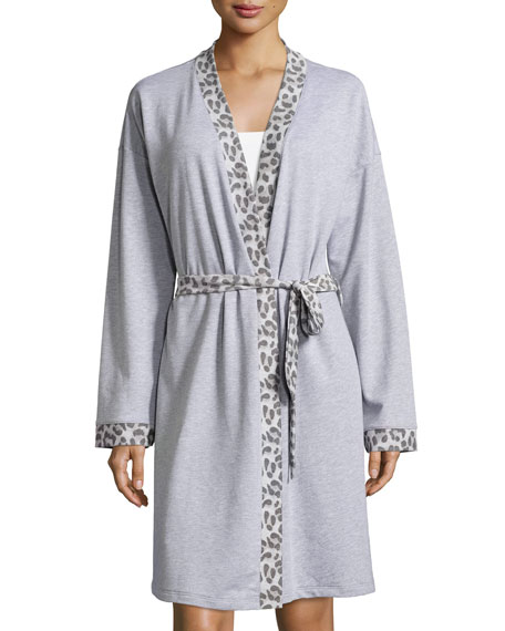 Cosabella Leopard-Print Long-Sleeve Knit Robe, Heather Gray
