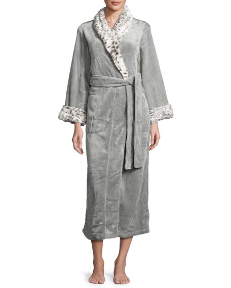 Natori Long Robe with Animal-Print Trim, Snow Lynx