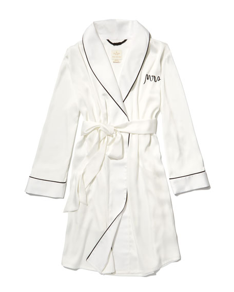 mrs. satin robe, white/black