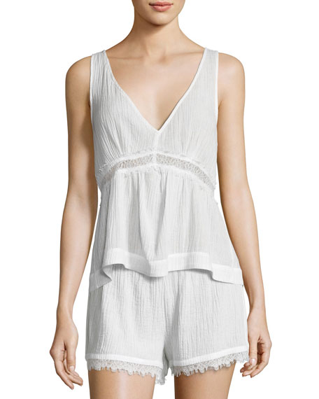 Skin Cotton Gauze Lounge Tank, Coconut and Matching