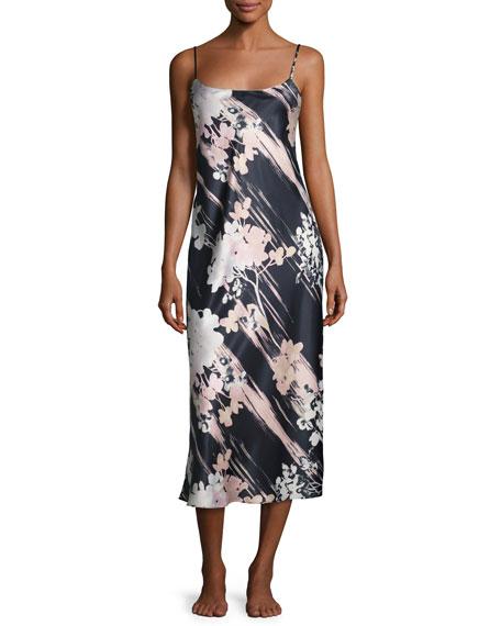 Layla Long Satin Nightgown, Black