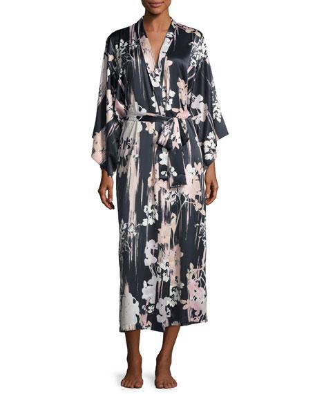Natori Layla Floral-Print Long Robe & Long Satin