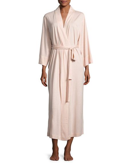 Natori Shangri-La Jersey Long Robe, Dusty Deco Pink