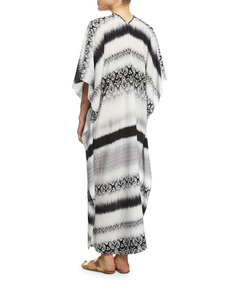 Striped Crepe de Chine Boubou Coverup