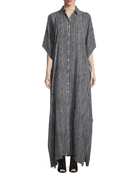 Michael Kors Striped Button-Front Silk Caftan