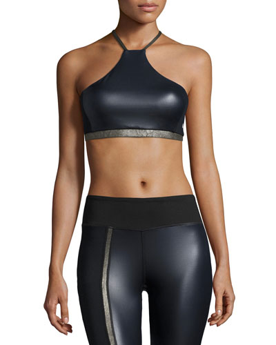Chance Coated Sports Bra, Navy