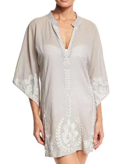Flora Bella Primland Embroidered Short Caftan Coverup, Dove