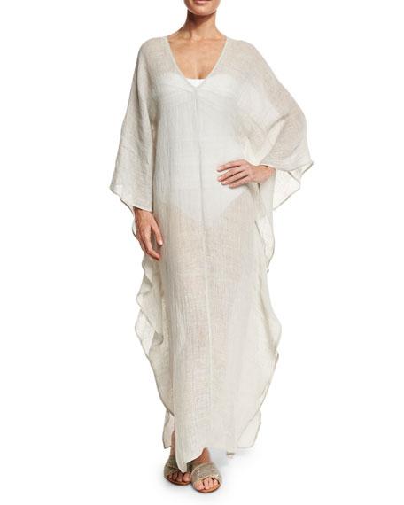 Flora Bella Dovecoat Long Linen Caftan Coverup, Light