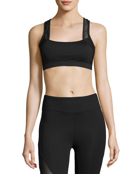 Koral Activewear Sling Mesh-Trim Sports Bra, Black