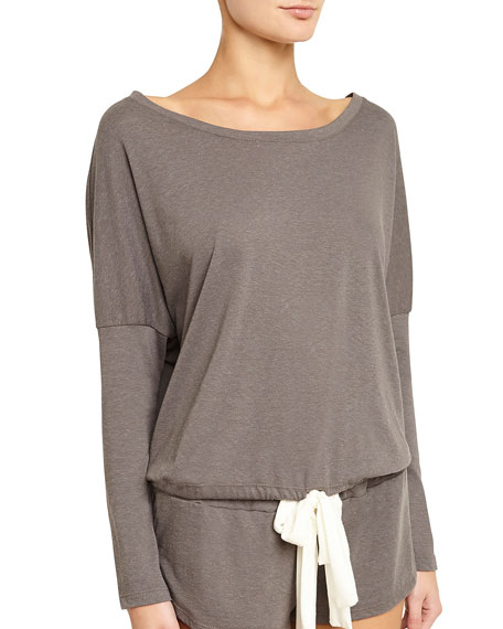 Eberjey Heather Slouchy Drawstring Lounge Tee