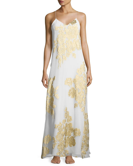 Marie France Van Damme Racerback Floral-Print Nightgown, Gold