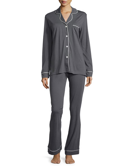 Cosabella Jersey Pajamas, Black/Ivory