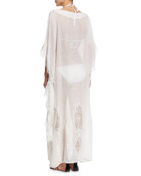 Tivoli Lace-Inset Long Caftan Coverup, White